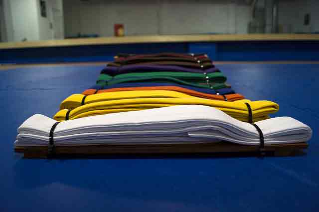 difference between karate and taekwondo: colored belts
