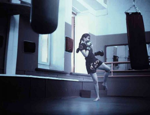 kick practicing muay thai